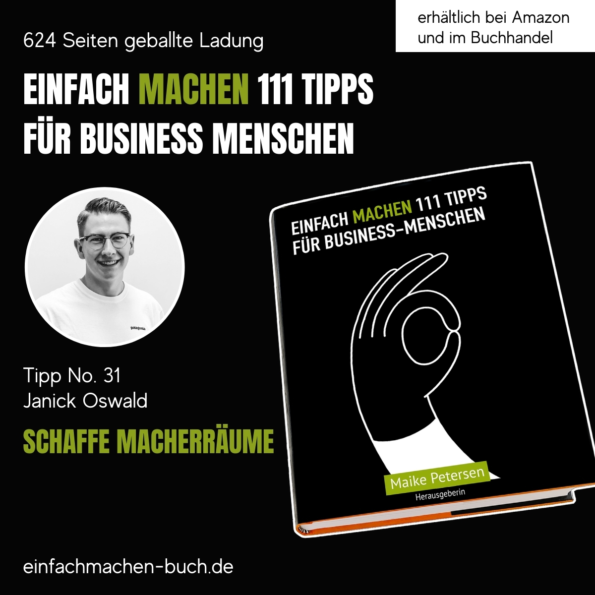 EINFACH MACHEN 111 TIPPS FÜR BUSINESS-MENSCHEN   Tipp No. 31 Janick Oswald